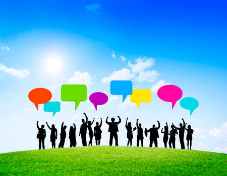 cheering crowd: Group of business people successful with speech bubbles.