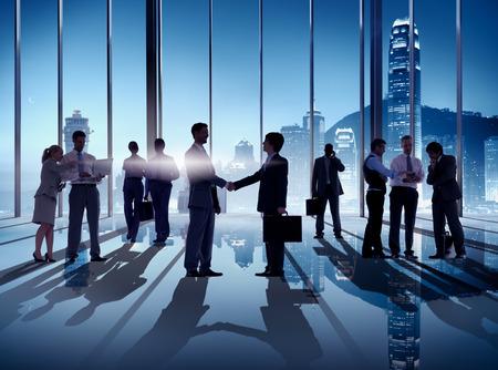 building trust: Business Handshake in Hong Kong Office