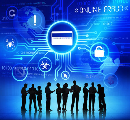 anomalies: Group of Corporate People Discussing About Online Fraud  Stock Photo