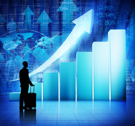 financial growth: Business People Travel on Economic Recovery Stock Photo