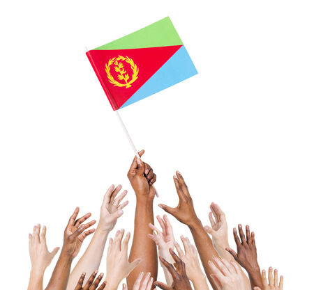 raise the white flag: Group Of Multi-Ethnic People Reaching For And Holding The Flag Of Eritrea