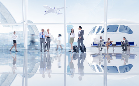 Group of People in the Airport Banque d'images