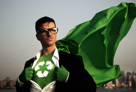 reciclar: Superh�roe de Negocios Verdes.