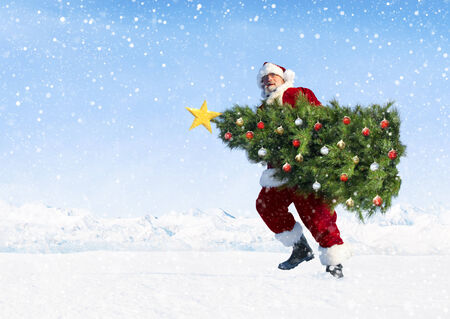Santa claus carrying christmas tree on snow covered mountain. photo