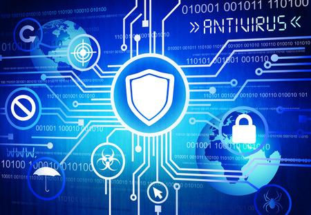 computer virus: Antivirus protection system.