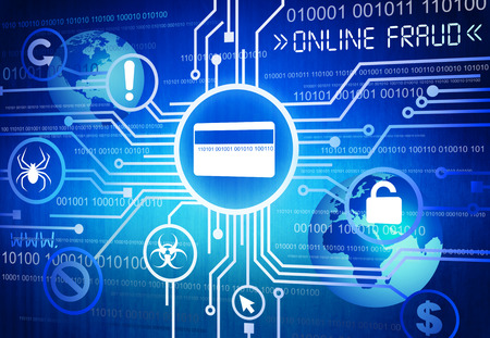 Digitaal beeld van online fraude Concept Stockfoto