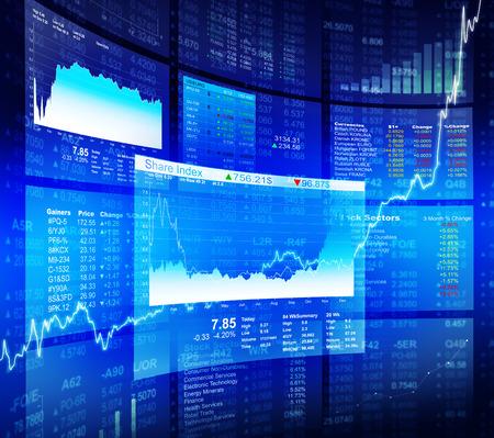 Blue Stock Diagram with Information Background Archivio Fotografico