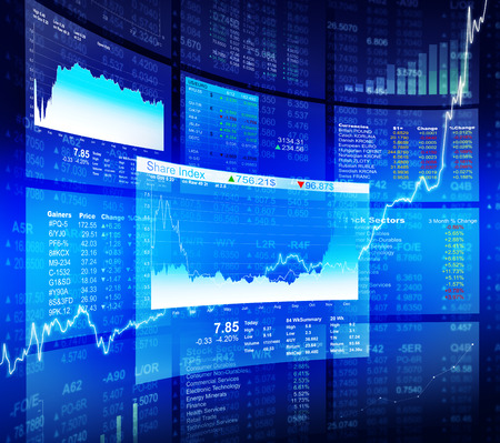 trader: Blue Stock Diagram with Information Background Stock Photo