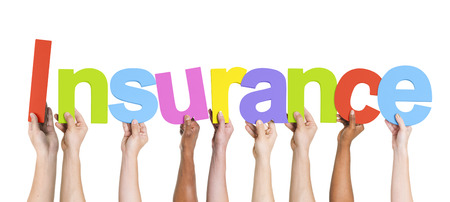 Diverse Hands Holding The Word Insurance Stock Photo