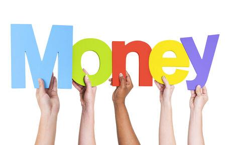 money matters: Multiethnic Group of Hands Holding Money Stock Photo