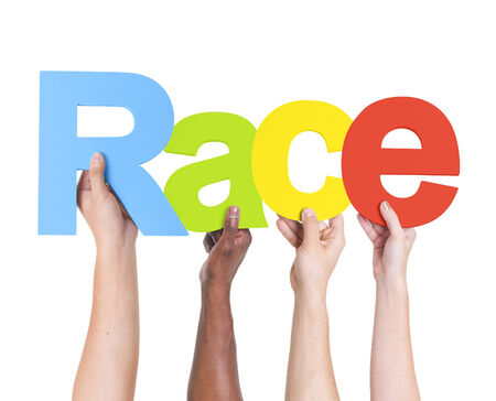 Diverse Hands Holding The Word Race photo