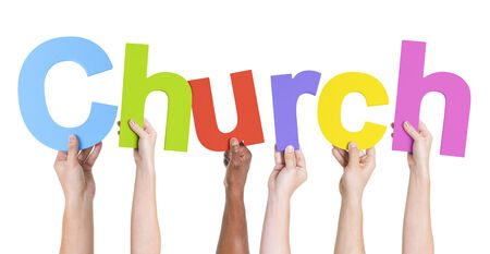 hands raised: Multiethnic Hands Holding Text Church