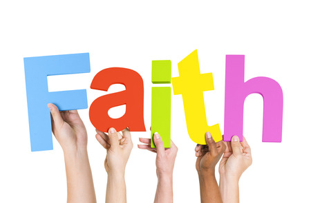 tough times: Multi-Ethnic Group Of People Holding The Word Faith Stock Photo