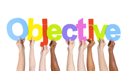 Multi-Ethnic Hands Holding Colorful Letters To Form Objective Stock Photo