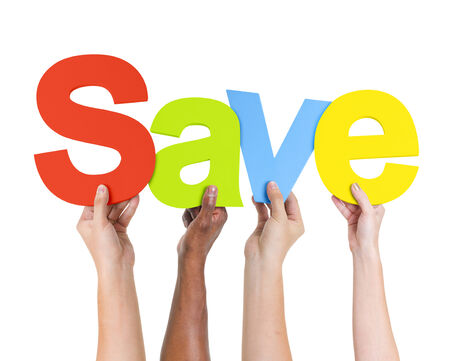 discounting: Multi-Ethnic Group Of People Holding The Word Save