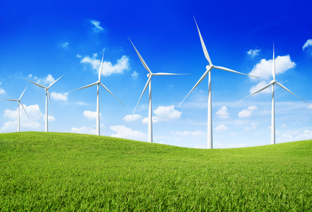wind turbines: Group of  Wind Turbines on the green hill