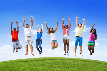 Youth jumping photo