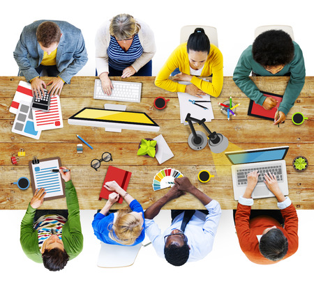 diverse business team: People Working in the Office Photos and Illustration Stock Photo
