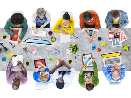 medium group of people: Diverse People Working and Photo Illustrations