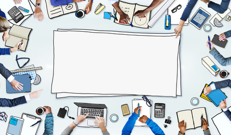 Illustration of Busy Business People Meeting Stock Photo