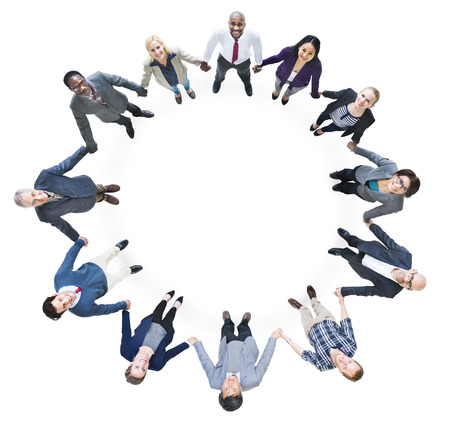 Cheerful Business People Holding Hands Forming a Circle