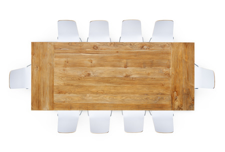 Wooden Table with Ten Chairs Around  photo