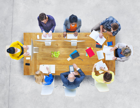 business meeting: Multiethnic Diverse People with Different Activities Stock Photo