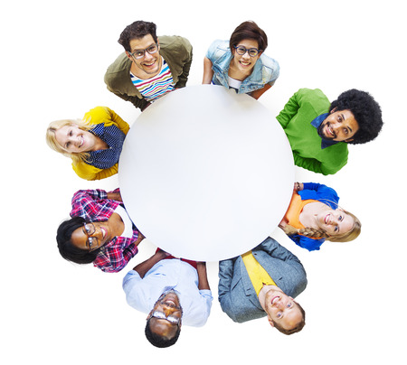 Group of Diverse People Carrying a White Circle