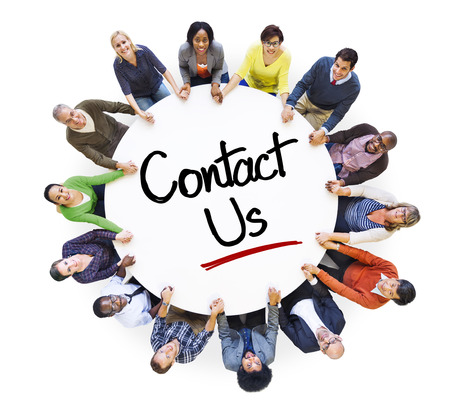 Diverse People in a Circle with Contact Us Concept Stock Photo