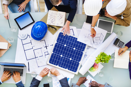 Ingenieurs en Architecten Plannen voor een nieuw project Stockfoto