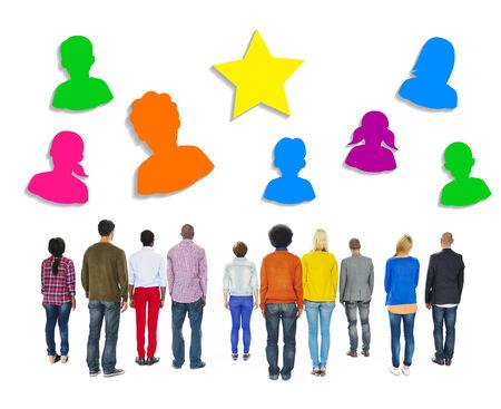 facing backwards: Multiethnic People Facing Backwards with Human Symbols