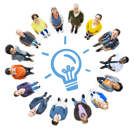 creative concepts: Aerial View of Diverse People and Light Bulb Symbol Stock Photo