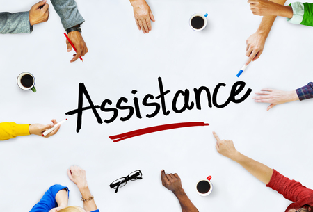 Multi-Ethnic Group of People and Assistance Concepts