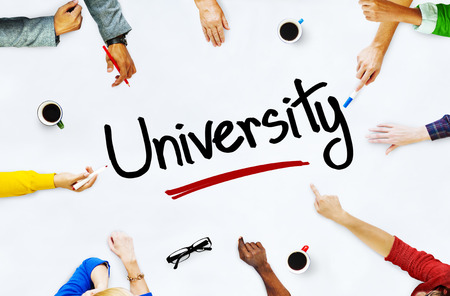 Multiethnic People Discussing About University photo