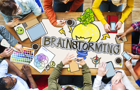 asian business group: Diverse People with Photo Illustrations Brainstorming