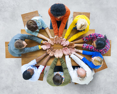 Group of Diverse People Hand Cupped photo