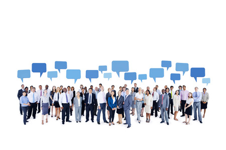 multi media: Large Group of Business People Stock Photo