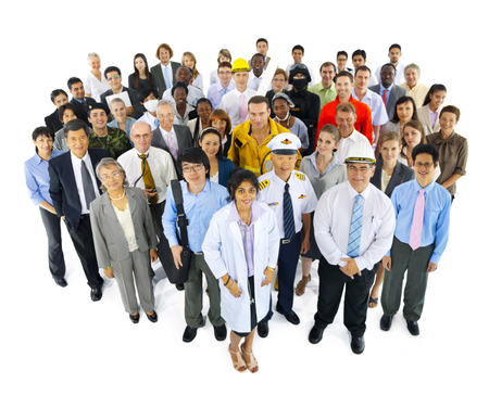 communication occupation: Large Group of Business People Stock Photo