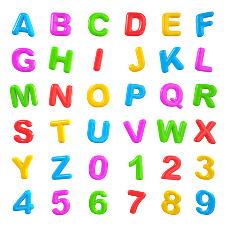 coloured background: English multi coloured alphabet and number. Stock Photo