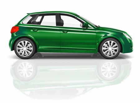 hatchback: Green 3D Hatchback Car Illustration Stock Photo