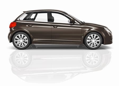 hatchback: Brown 3D Hatchback Car Illustration