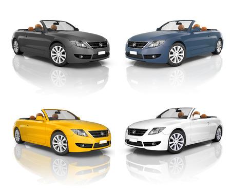 美しい近代的な車のコレクション 写真素材
