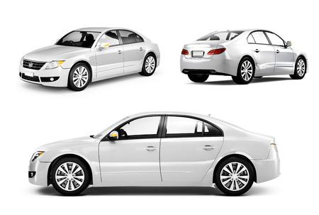 homme détouré: Image tridimensionnelle d'une voiture blanche