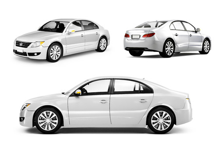 white background: Three Dimensional Image of a White Car