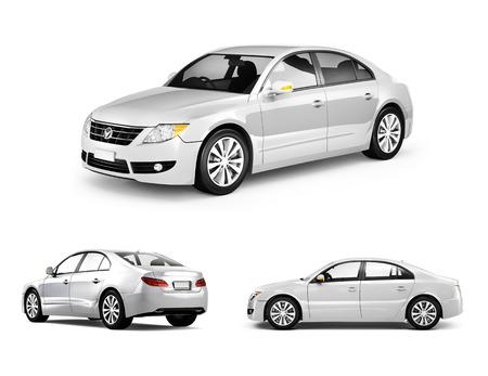 Imagen tridimensional del coche blanco