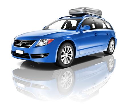 Three Dimensional Image of a Blue Car photo