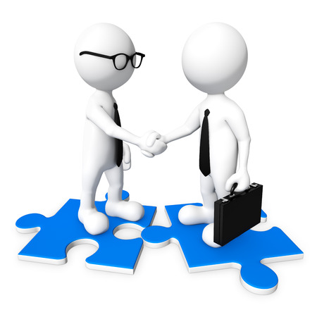communicating: 3D business men shaking hands.