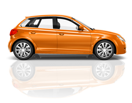 Studio photo of an orange sedan in a white background. Imagens
