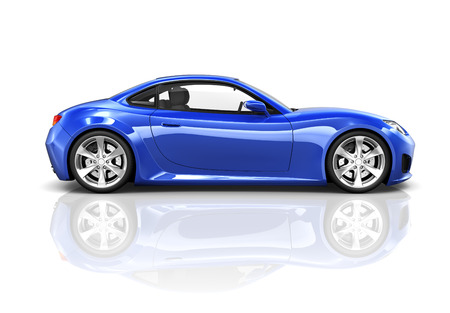 speeding car: Luxury Blue Sports Car