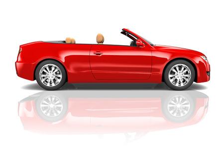 top down car: Red Sedan Convertible